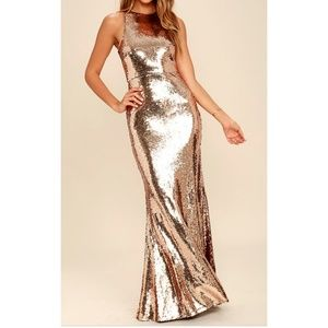 Lulu's Gold Maxi Dress Size Large